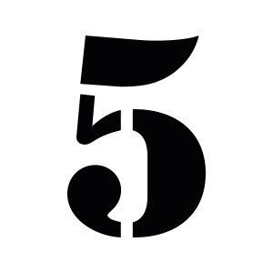 Plakletter | 5 - Stencil | Zwart