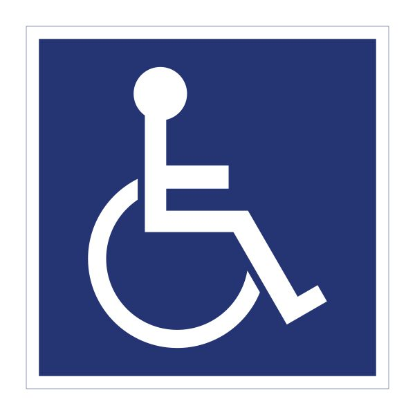 Bedrijfssticker   Invalide   Blauw