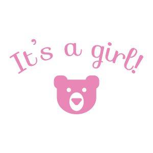 Baby-/geboortesticker | It's a girl! | Licht Roze