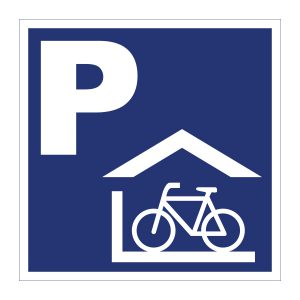 Bedrijfssticker | Parkeren fietsenhok | Blauw