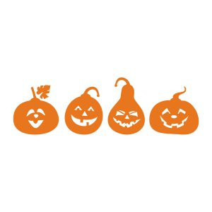 Halloweenstickers | 4 Pompoenen | Oranje