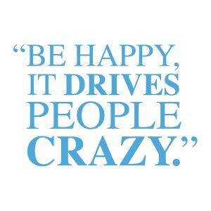 Quotestickers | Be Happy Serif | Licht Blauw