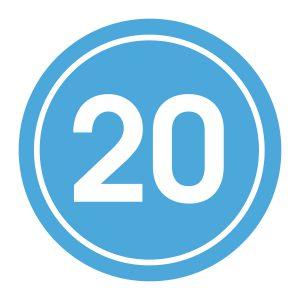 Verjaardagstickers | 20 Jaar | Licht Blauw