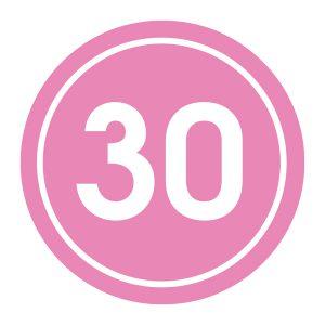 Verjaardagstickers | 30 Jaar | Licht Roze
