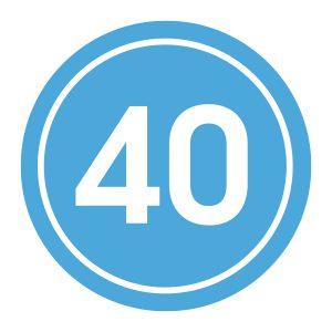 Verjaardagstickers | 40 Jaar | Licht Blauw