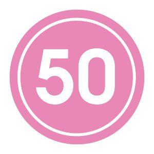 Verjaardagstickers | 50 Jaar | Licht Roze