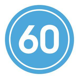 Verjaardagstickers | 60 Jaar | Licht Blauw