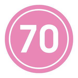 Verjaardagstickers | 70 Jaar | Licht Roze
