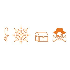 Kinderkamerstickers | Piraten Stickers | Oranje