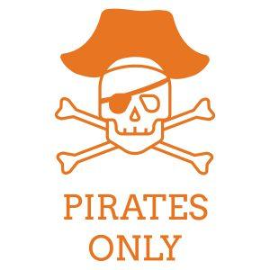 Pirates only - Zwart, 7,7cm x 10cm
