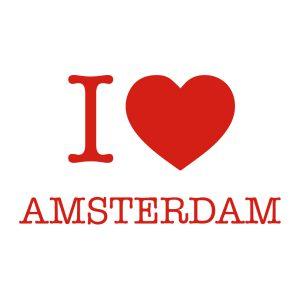 Decoratiesticker | I love Amsterdam | Rood