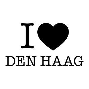 Decoratiesticker | I love Den Haag | Zwart
