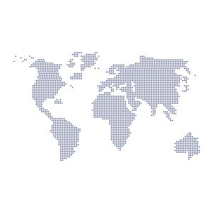 Decoratiesticker | Wereld Stippen | Blauw