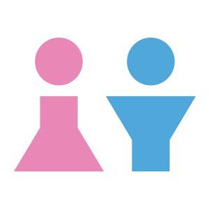 Wc-sticker   Vrouw Man Simpel   Licht Roze Licht Blauw