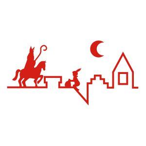 Sinterklaasstickers Sinterklaas op het dak